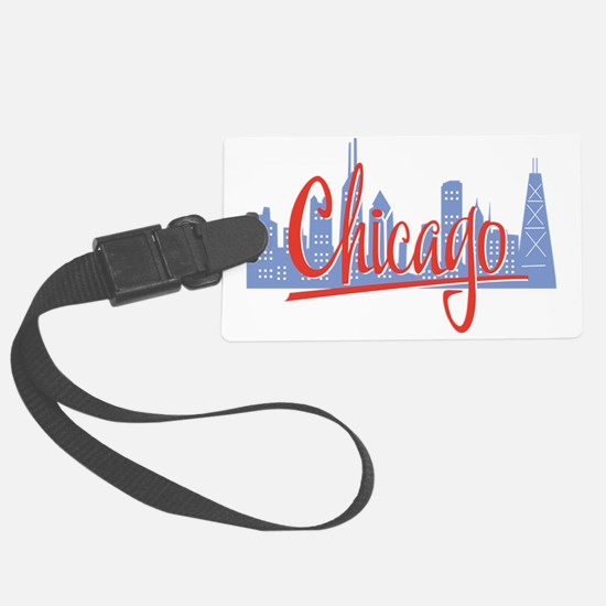 Chicago Red Script On Dark Luggage Tag