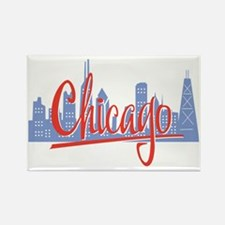 Chicago Red Script On Dark Rectangle Magnet
