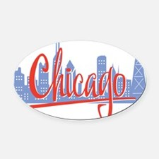Chicago Red Script On Dark Oval Car Magnet