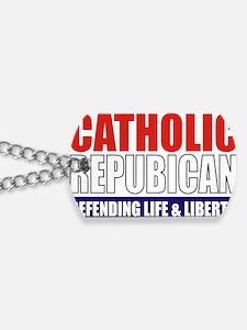 2-Catholic Republican (TShirt Front) Dog Tags