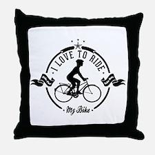 I Love To Ride My Bike Throw Pillow