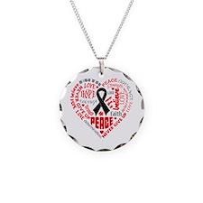 Melanoma Heart Words Necklace
