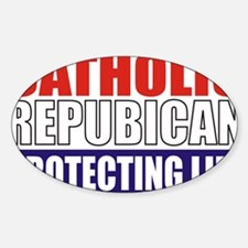 Catholic Republican (Tee2 Front) Sticker (Oval)