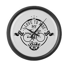 I Love To Ride My Bike Large Wall Clock