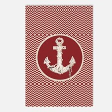 girly nautical anchor red Postcards (Package of 8)