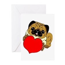 Pug Heart Greeting Cards (Pk of 10)