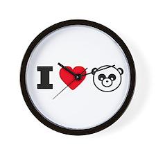 I Heart Pandas Wall Clock