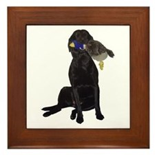 lab with duck Framed Tile