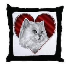Persian Cat Heart Throw Pillow