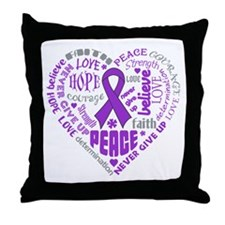 GIST Cancer Heart Words Throw Pillow