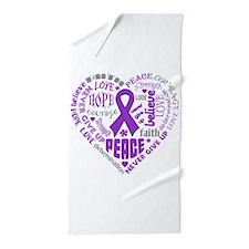 GIST Cancer Heart Words Beach Towel