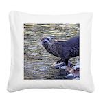 River Otter Square Canvas Pillow