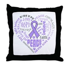 General Cancer Heart Words Throw Pillow