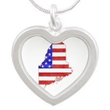 Maine Flag Silver Heart Necklace