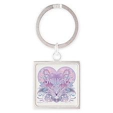 twilight girl fancy heart 2 Square Keychain