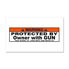 protected by gun owner Car Magnet 20 x 12