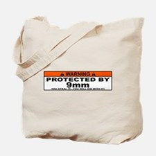 protected by 9mm Tote Bag