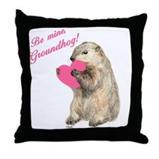 Groundhog-BeMine-Pink-Heart Throw Pillow