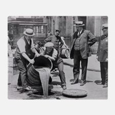 Police Raiding Bootleg Liquor, 1921 Throw Blanket