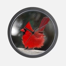 3-Windblown Cardinal 01 06 09 DSC_0311  Wall Clock