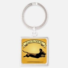8x9_trvlbnd_flying_dog Square Keychain