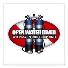 Open Water Diver (Scuba Tanks) Square Car Magnet 3