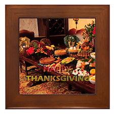 Thanksgiving Dinner Doxies Framed Tile