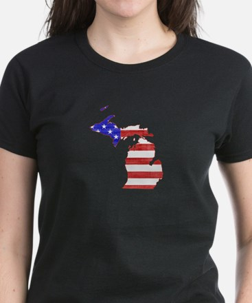 Michigan Flag Women's Dark T-Shirt