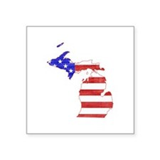 "Michigan Flag Square Sticker 3"" x 3"""