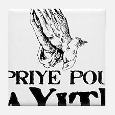 Priye Pou Ayiti Black Tile Coaster