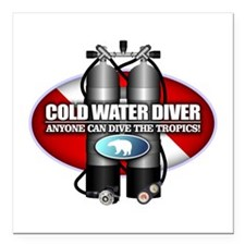 "Cold Water Diver (ST) Square Car Magnet 3"" x 3"""