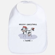 Customize Merry Christmas Cow Bib