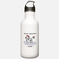 Customize Merry Christmas Cow Water Bottle