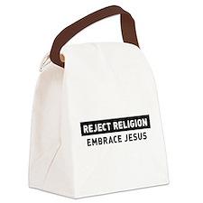 Reject Religion / Embrace Jesus Canvas Lunch Bag