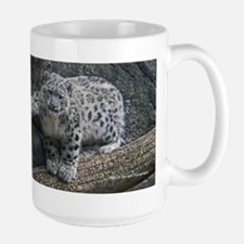 Snow Leopard Cub On Log Mug
