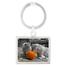 Snow Leopards And Pumpkin Landscape Keychain