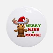 Cute Merry Kiss A Moose Christmas Ornament (Round)