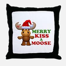 Cute Merry Kiss A Moose Christmas Throw Pillow