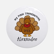 Baby Turkey 1st Thanksgiving Ornament (Round)