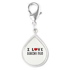 I Love Burkina Faso Silver Teardrop Charm