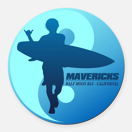Mavericks-Half Moon Bay (blue) Round Car Magnet
