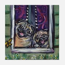 Window Happy Pugs Tile Coaster