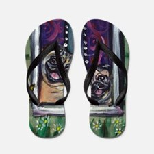 Window Happy Pugs Flip Flops