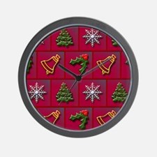 Christmas mix pattern Wall Clock