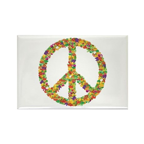 Fruit and Vegetable Peace Sign Rectangle Magnet (1