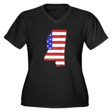 Mississippi Flag Women's Plus Size V-Neck Dark T-S