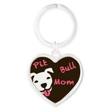 Pit Bull Mom Heart Keychains