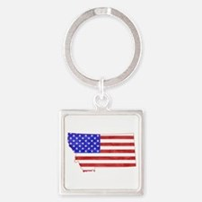 Montana Flag Square Keychain