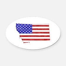 Montana Flag Oval Car Magnet