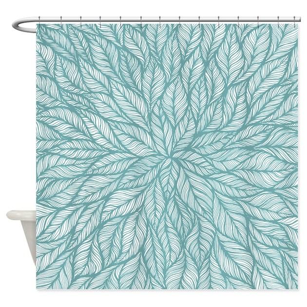 Leafy Teal Shower Curtain By Markedmotifs